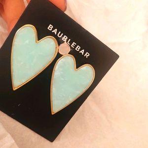 Baublebar Heart Shaped seagreen earrings BNWT